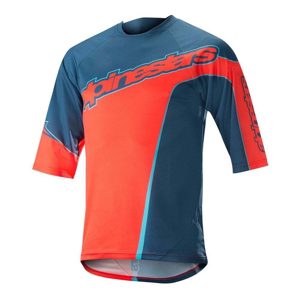 Alpinestars Crest 3/4 Jersey - Poseidon Blue Energy Orange